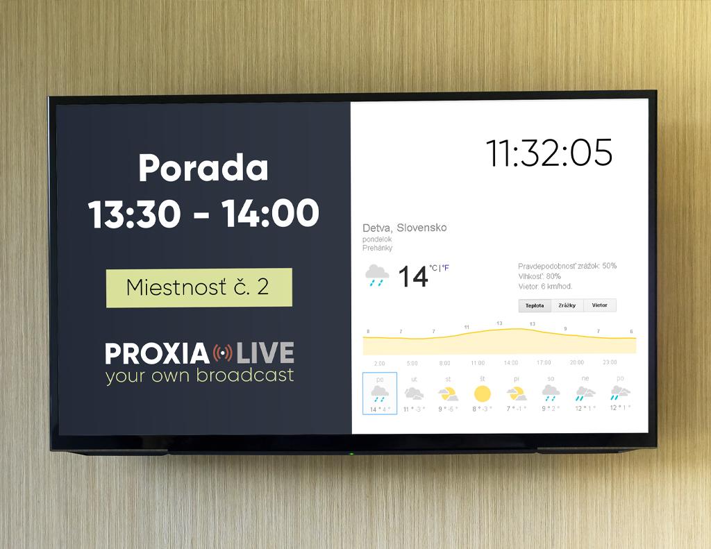 Infopanel pre spoločnosti | Proxia.Live