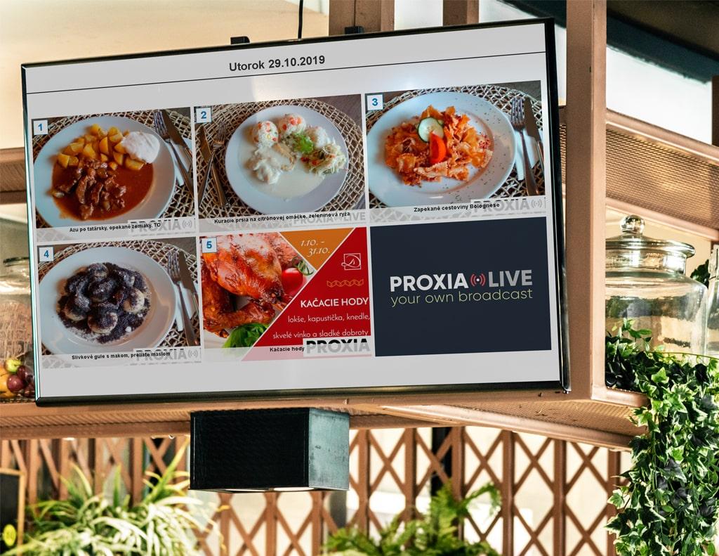 Infopanel pre reštaurácie | Proxia.Live