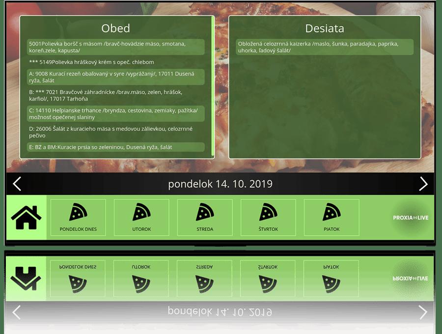 Elektronická nástenka pre školy - menu v školskej jedálni | Proxia.Live